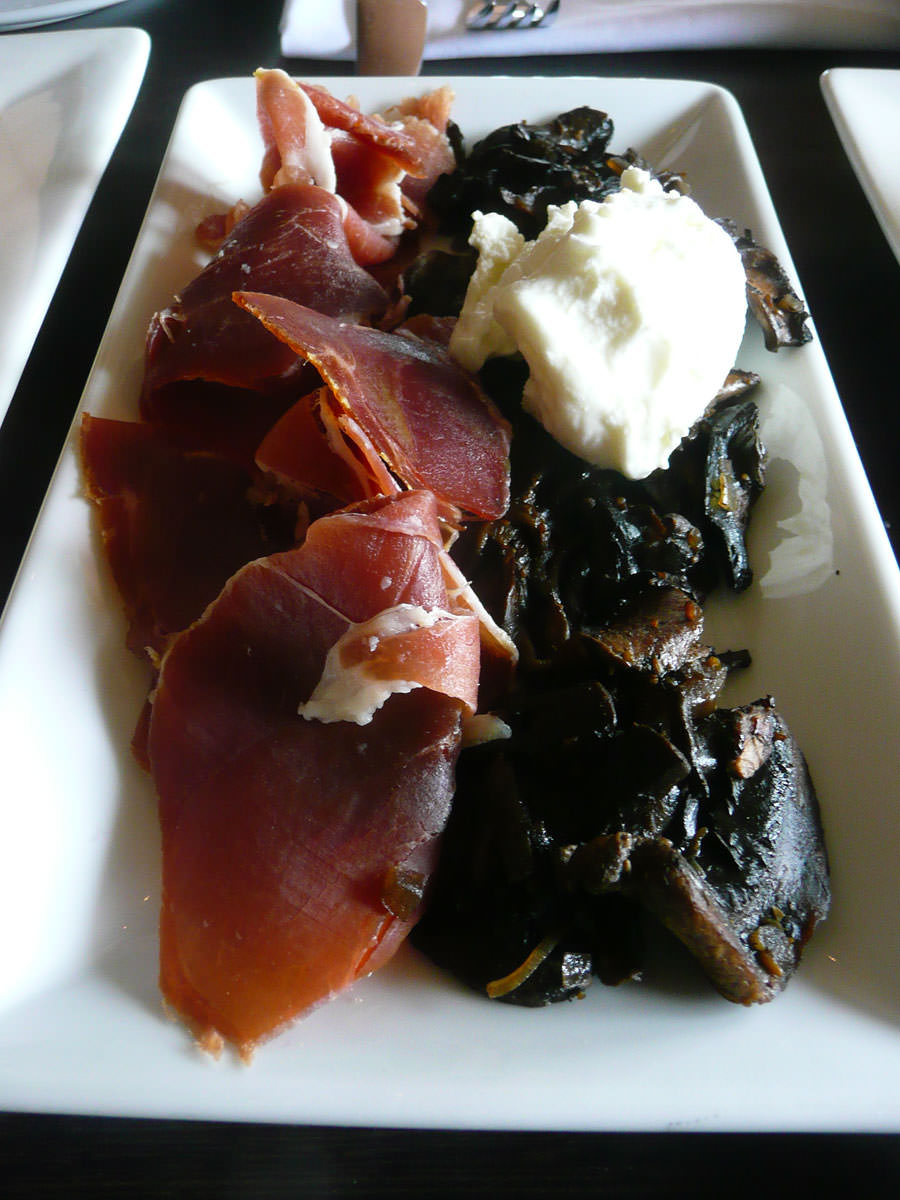 Pancetta and sherry glazed mushrooms with goats curd