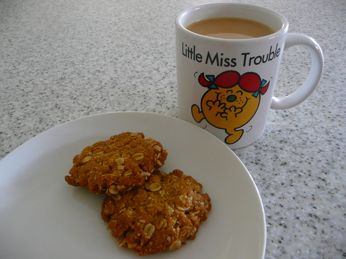ANZAC biscuits with a cup of tea