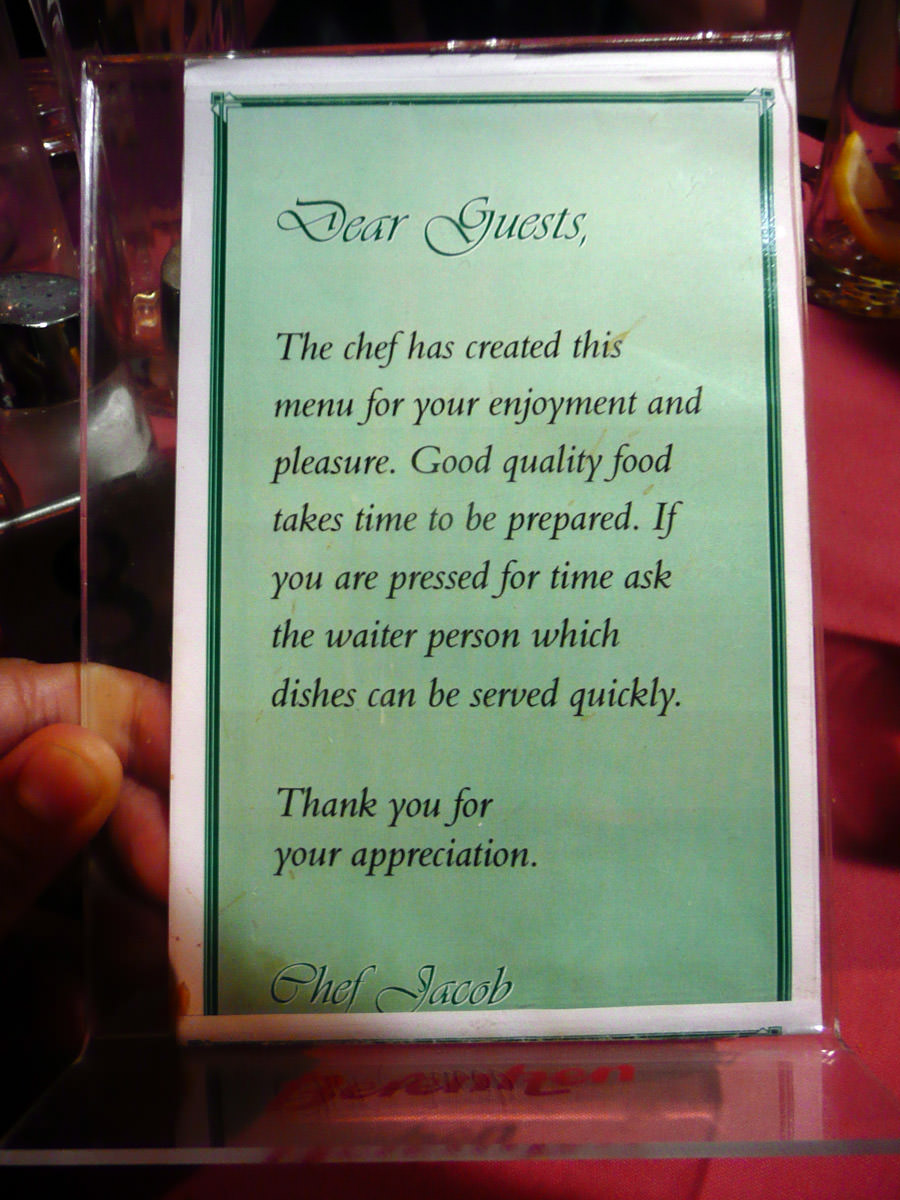 A note from the chef