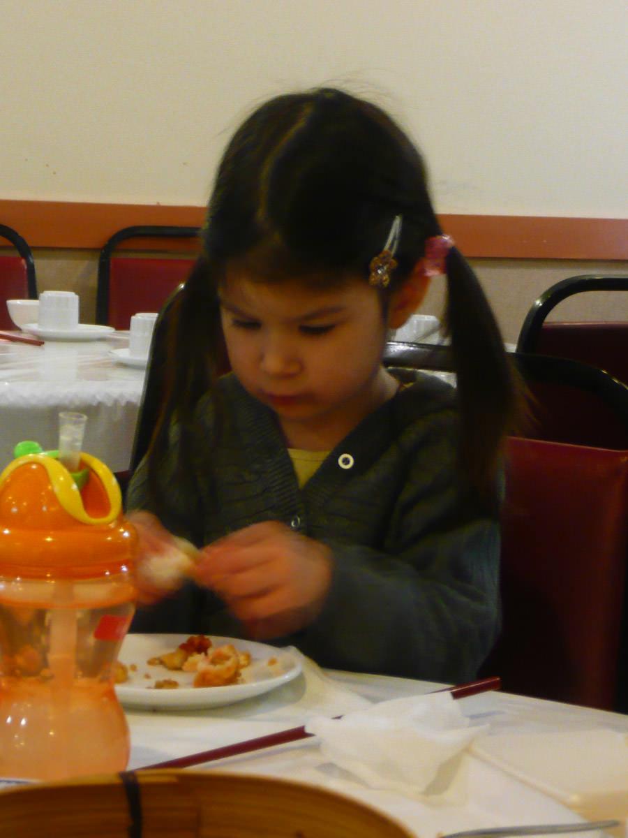 Ruby eats char siu pow