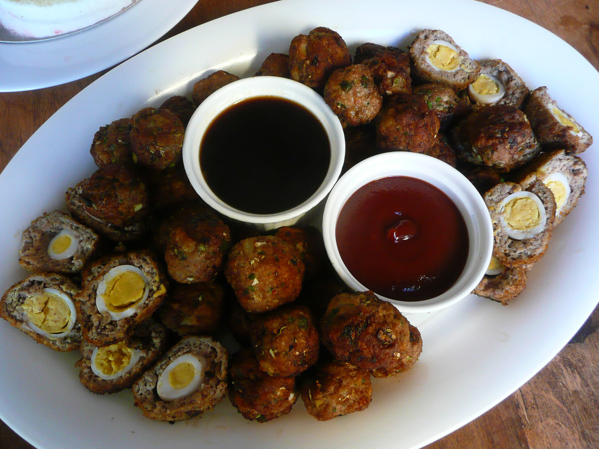 Mini scotch eggs and meatballs
