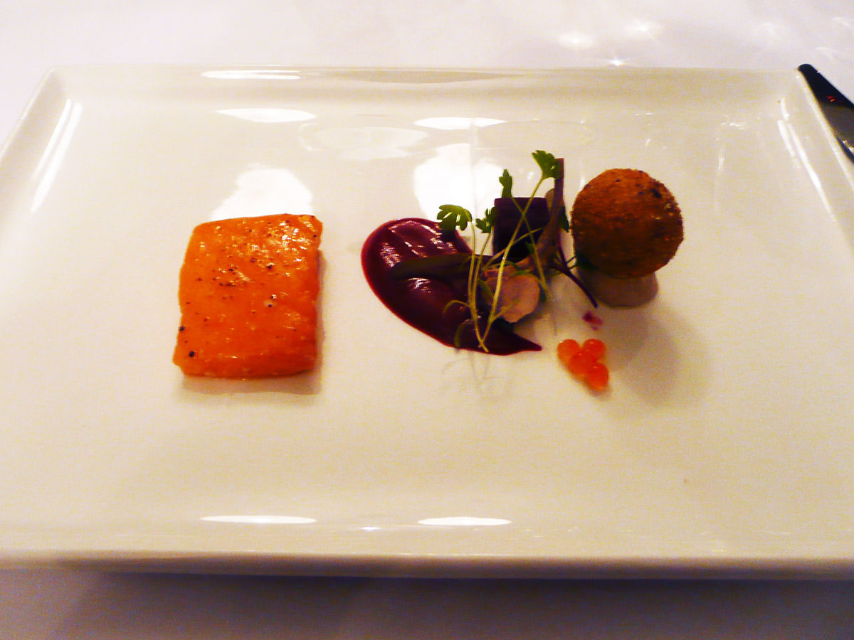 Salmon, rabbit, beetroot by Stephen Clarke of Clarke's of North Beach