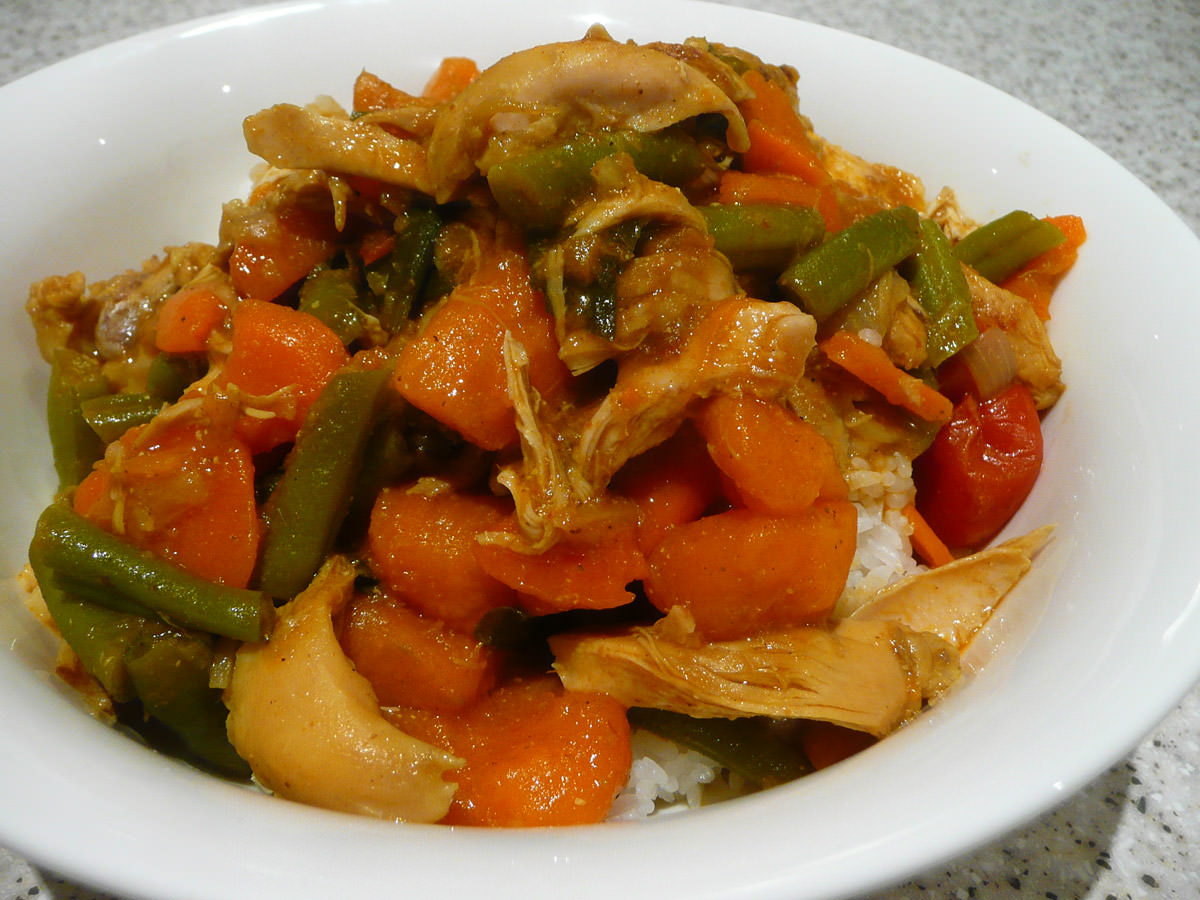 Yellow curry and rice