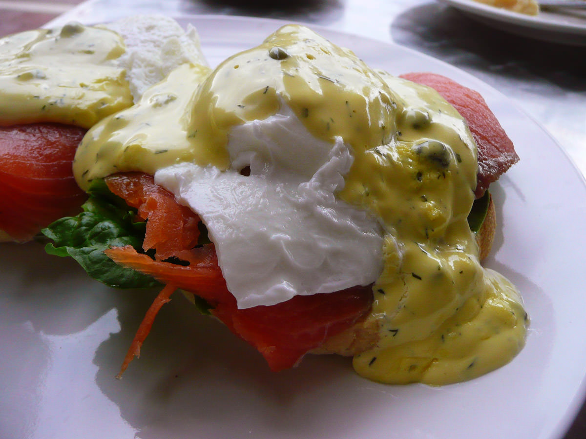 Eggs Benedict with smoked salmon close-up