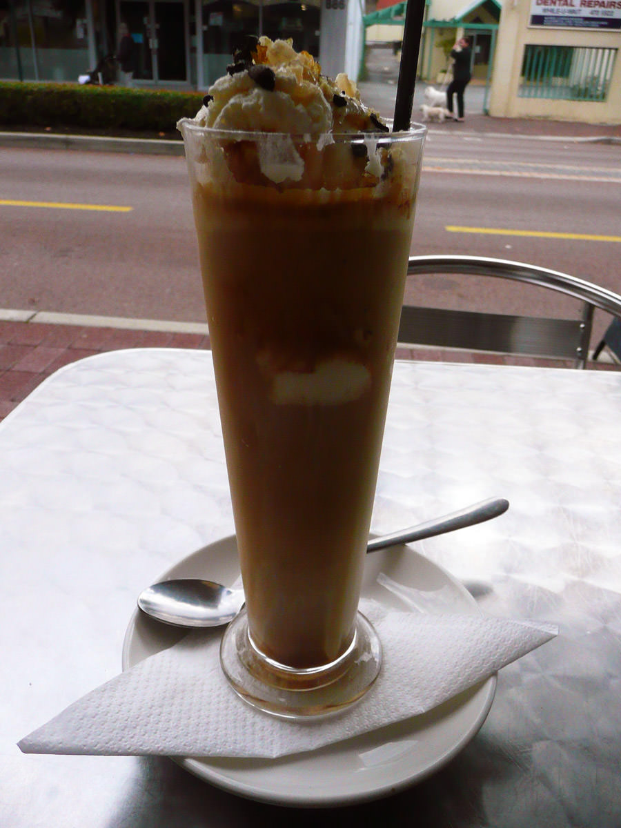 A very tall iced coffee