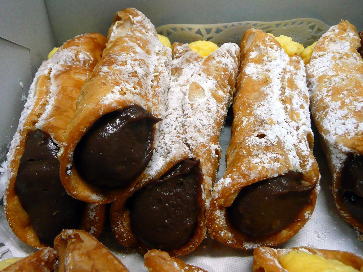 Cannoli - chocolate custard close-up