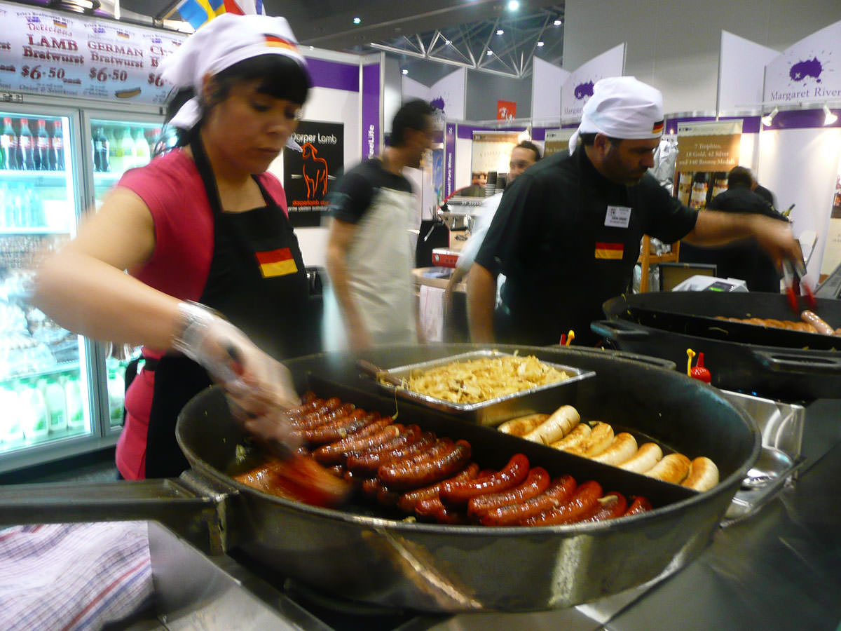 Big pan of sausages at Eric's Bratwurst Hut