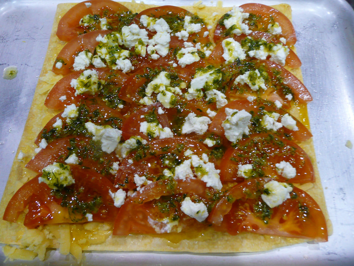 Herb and tomato tart - before it went in the oven
