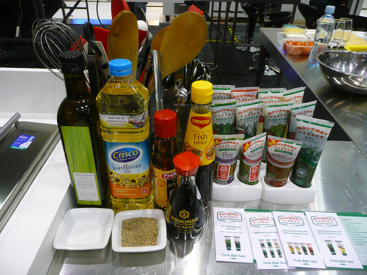 Seasonings, sauces, herbs, utensils