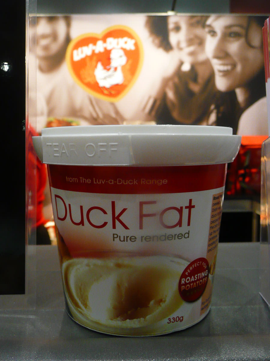 A tub of duck fat