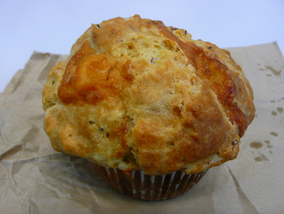 Cheese and bacon muffin