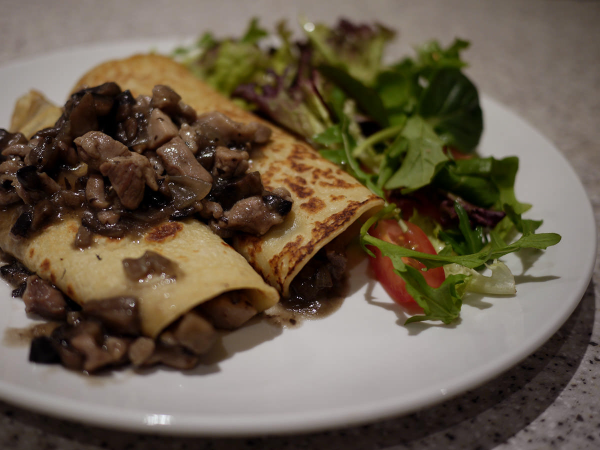 Chicken and mushroom filled savoury pancakes