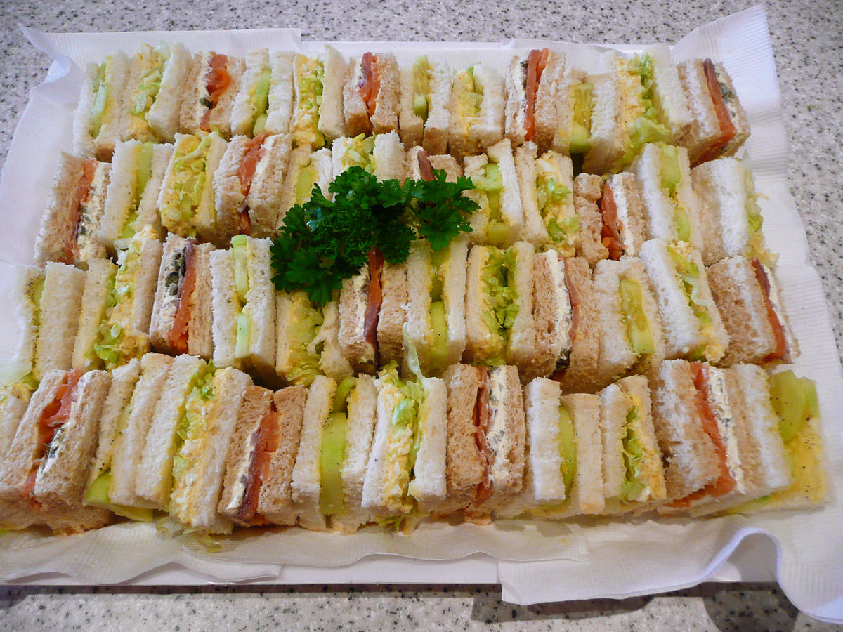 Sandwiches - hard-boiled egg, cucumber in vinegar, smoked salmon with cream cheese and capers