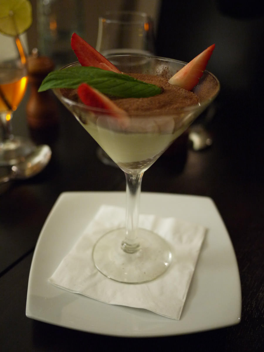 Tiramisu served in a martini glass