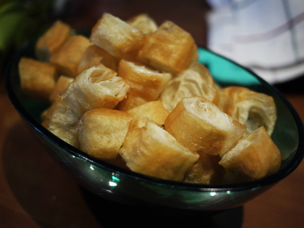 Yow char kwai (fried crullers) for the rice porridge