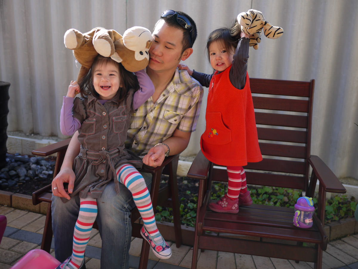Ruby, Mark and Zoe in When Murray and Milly became hats