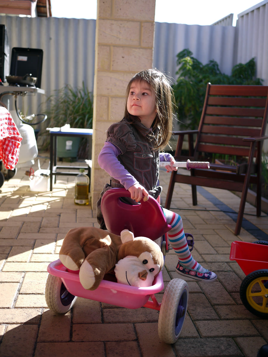Ruby on her tricycle