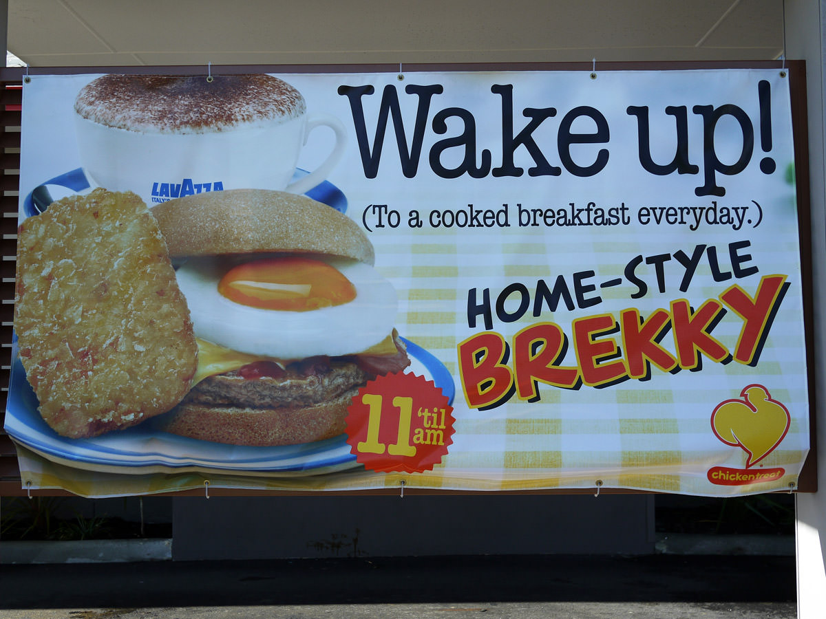 Chicken Treat home-style brekky sign