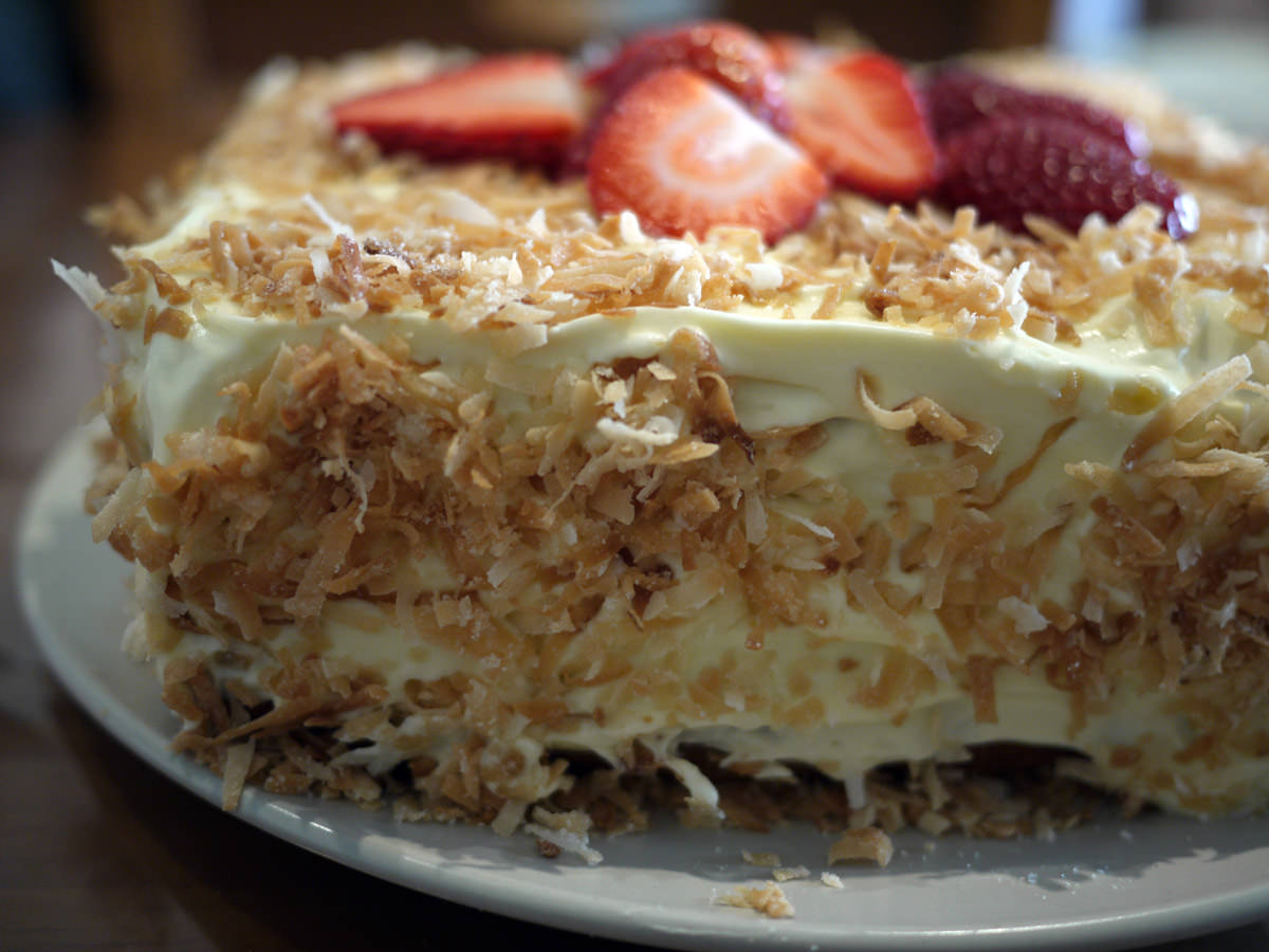 Close-up of toasted coconut and icing