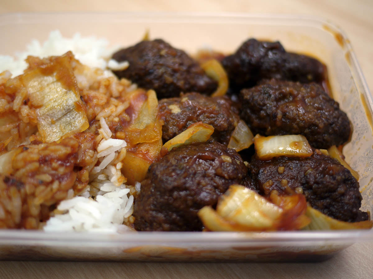 Tomato sauce meatballs and rice from 88 Royal lunch bar