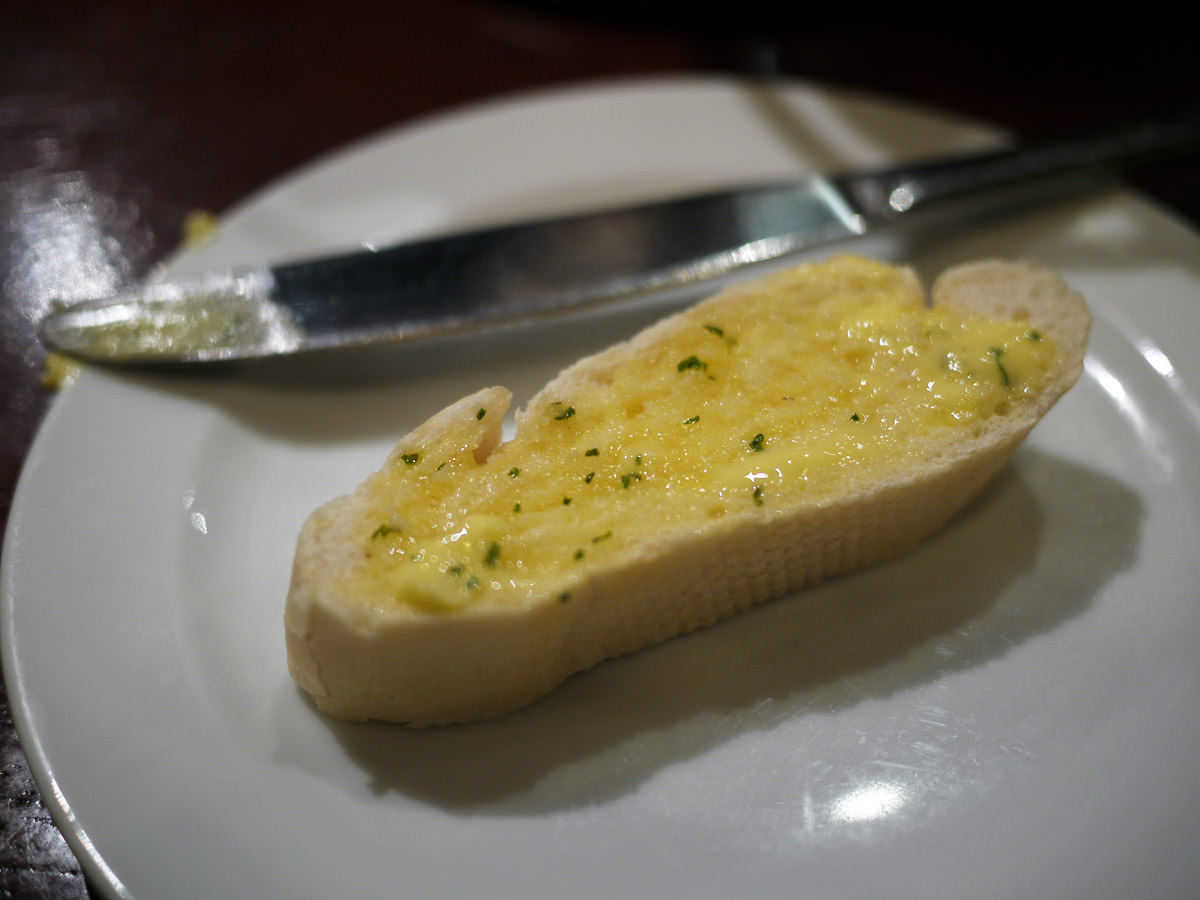 Warm bread with garlic butter