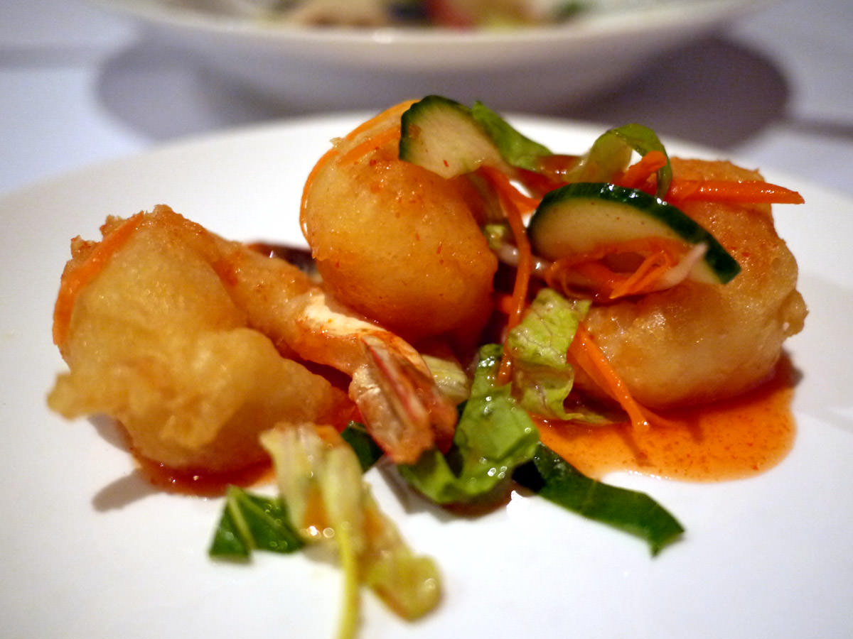 Light fried prawns with ginger infused chilli vinegar