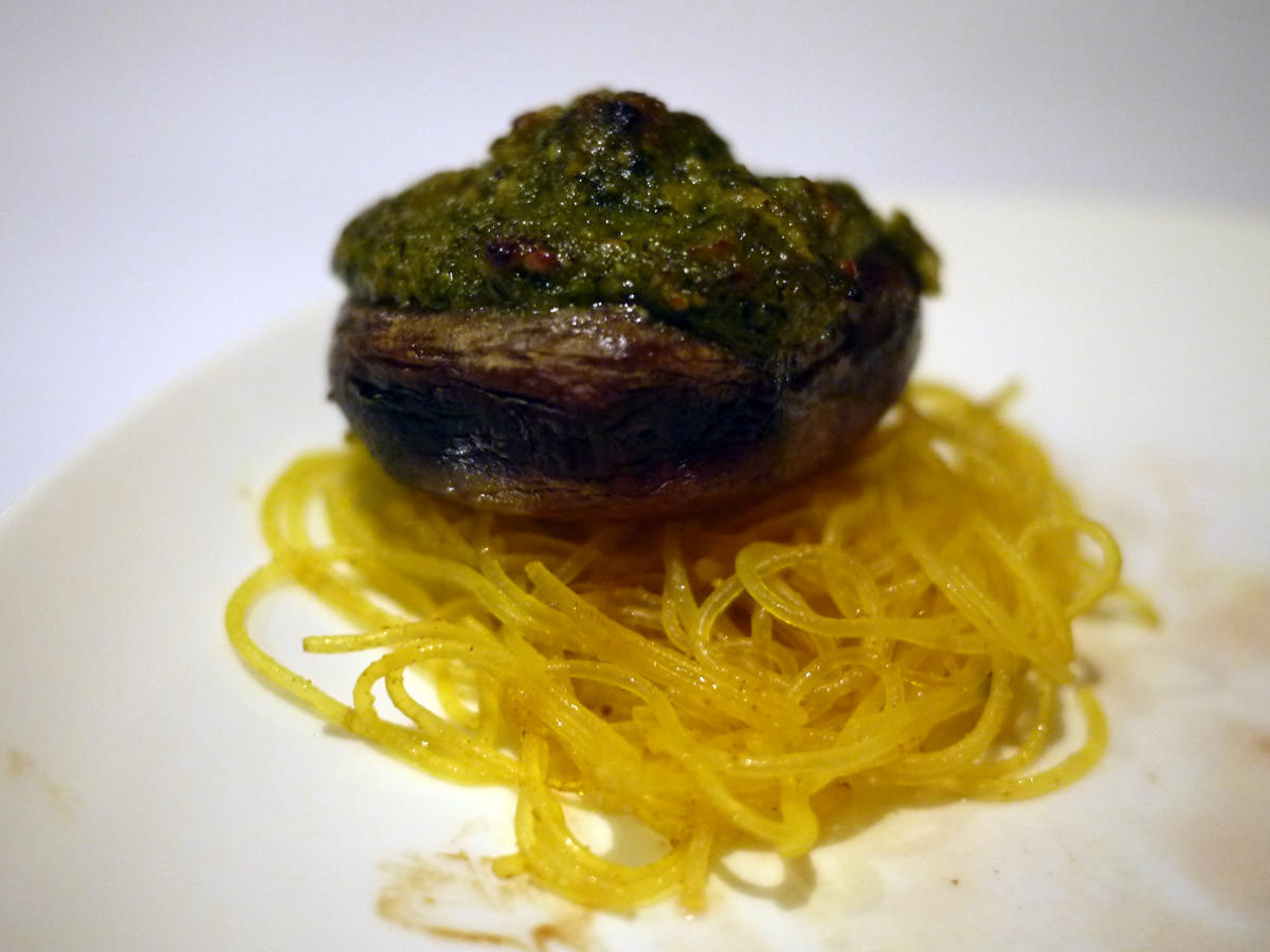 Grilled field mushroom with herb and cashew pesto