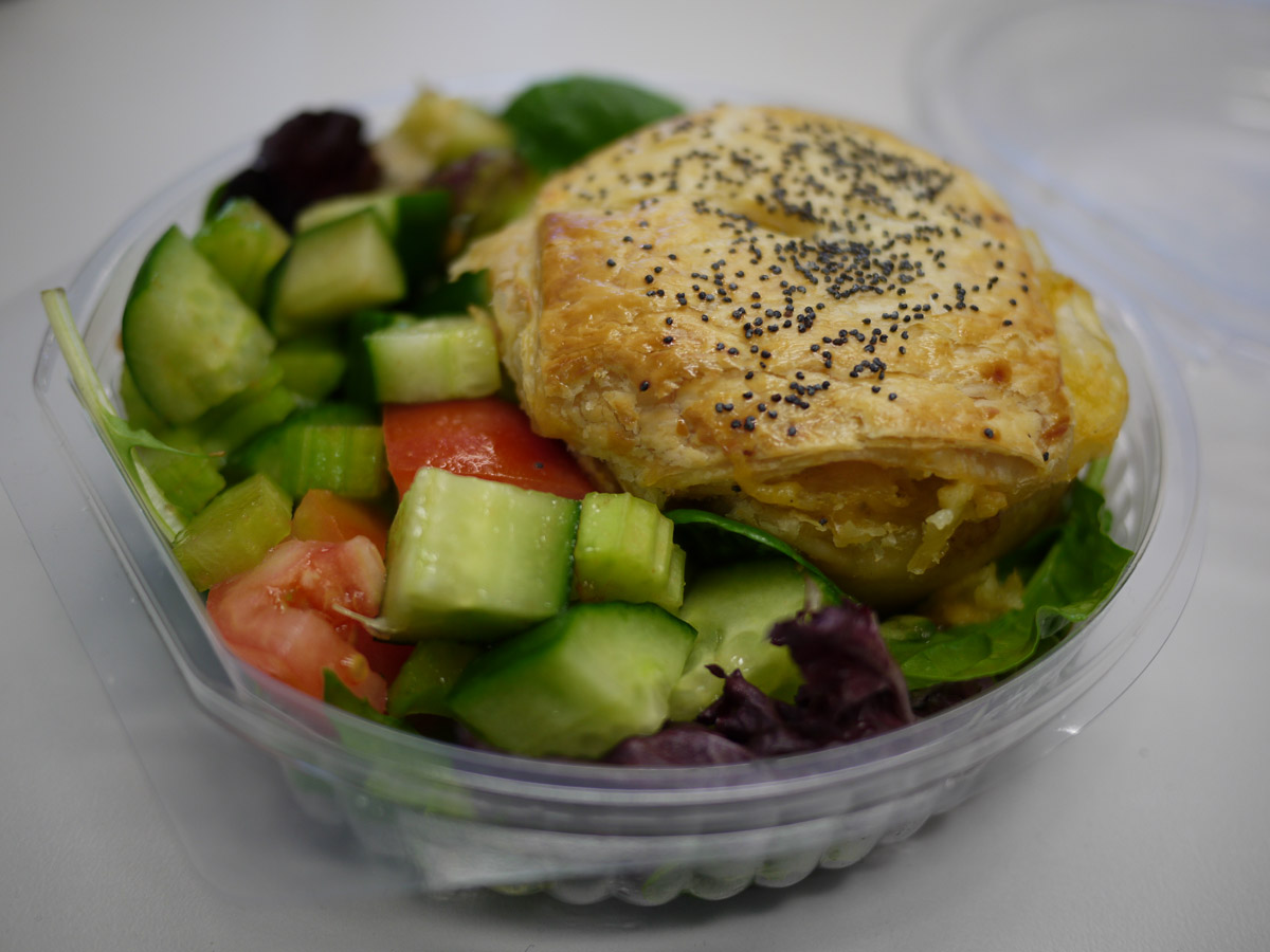 Chicken and leek pie with salad from City Farm Cafe