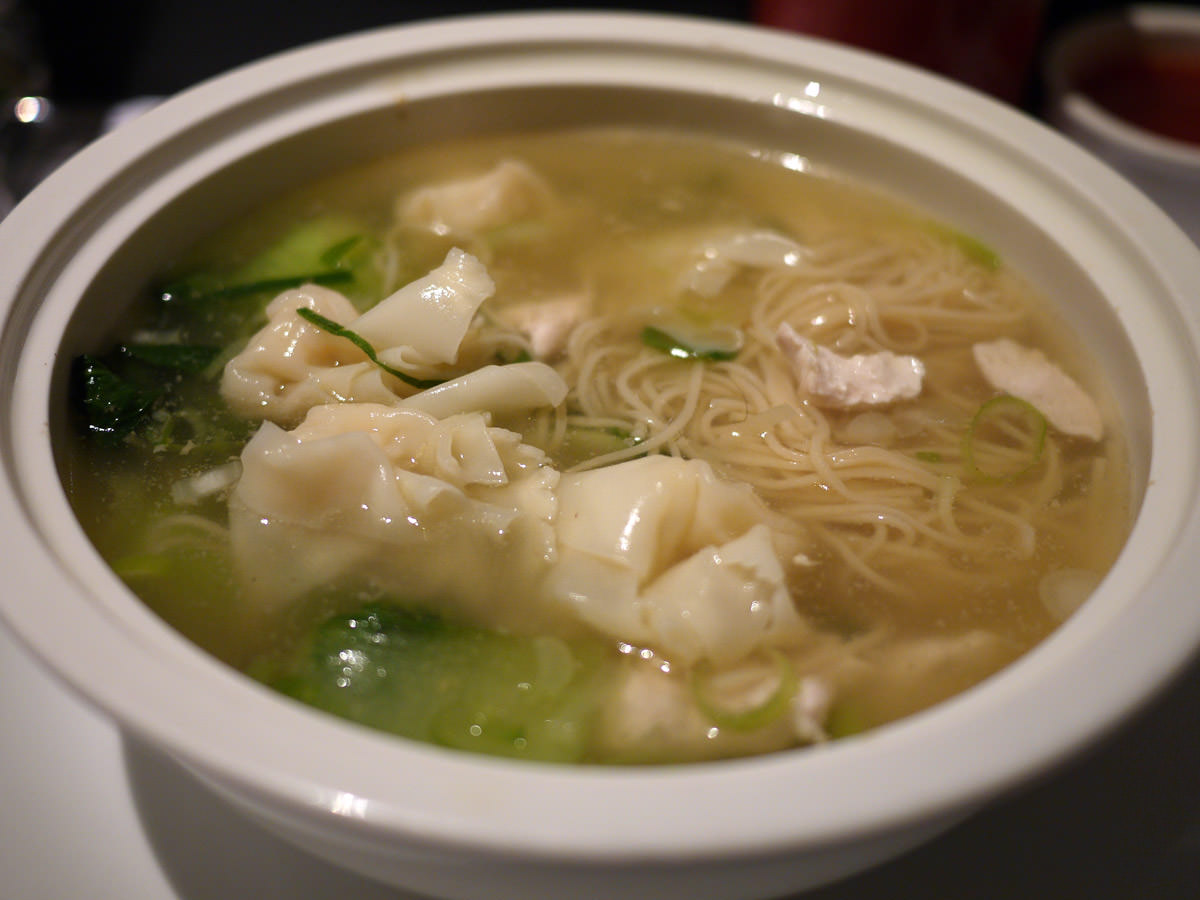 Wonton noodle soup with chicken and vegetable