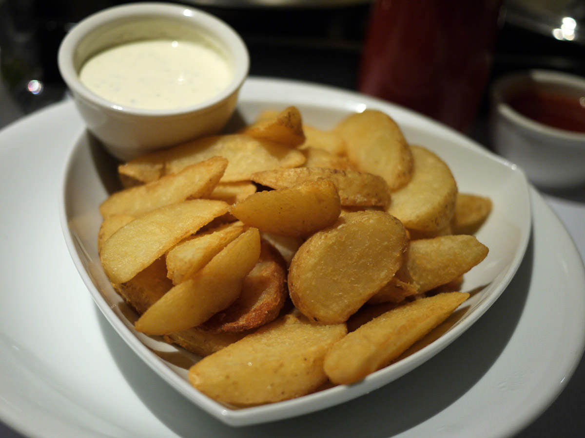 Duck fat fried potato wedges with sour cream