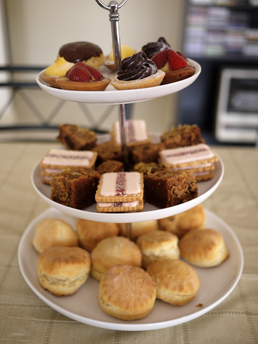 Afternoon tea - scones, cake, biscuits and tarts