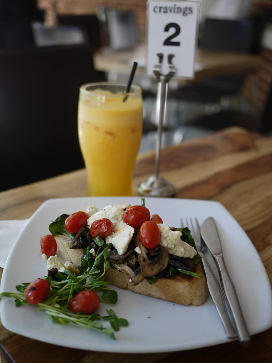 Breakfast bruschetta and freshly squeezed OJ