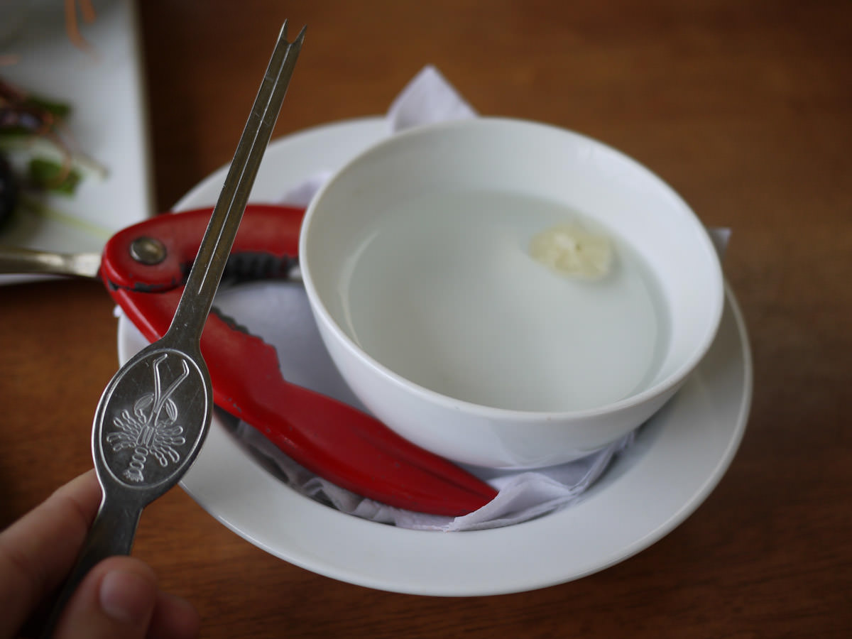 Lobster eating tools - finger bowl, claw cracker and lobster pick