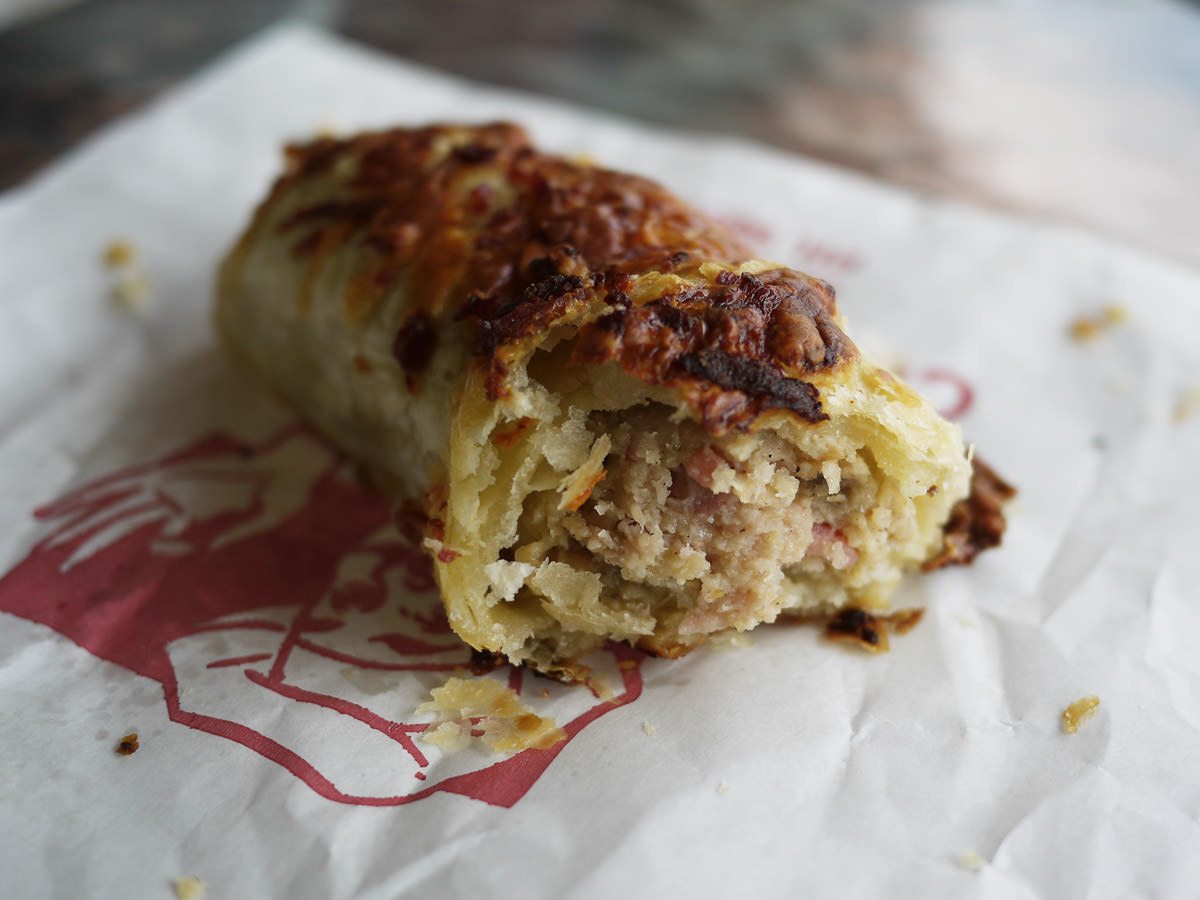 Cheese and bacon sausage roll innards