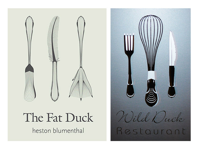 L-R: logo of The Fat Duck restaurant in Bray, England; logo of Wild Duck in Albany, Western Australia