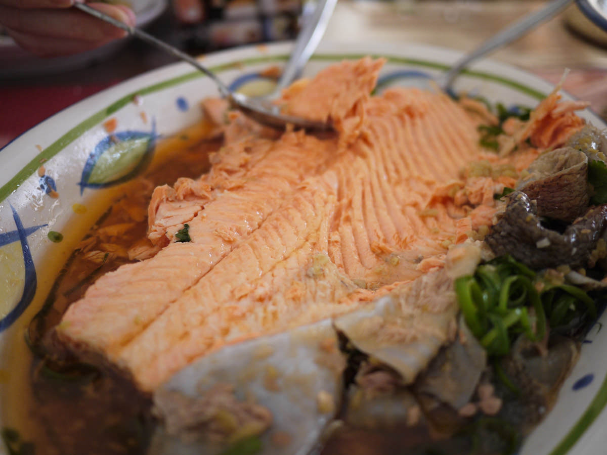 Steamed ocean trout (the underside)