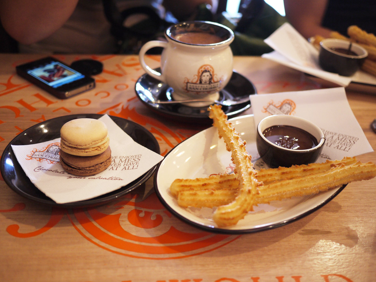 Macarons, hot chocolate, churros