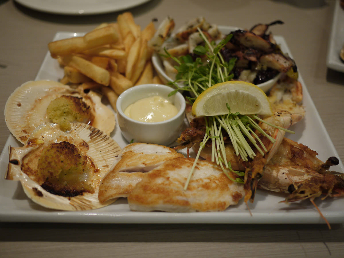 Grilled seafood platter for two (AU$58 per person)