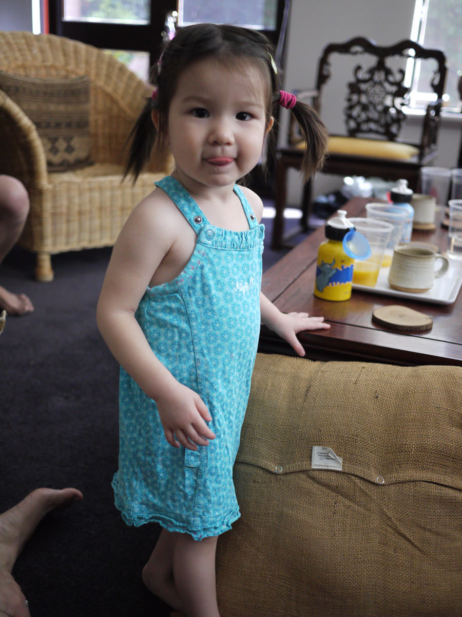 Zoe in a different dress (spilled OJ on the first dress)