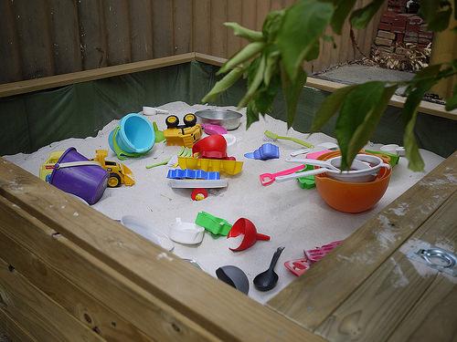Home-built sandpit