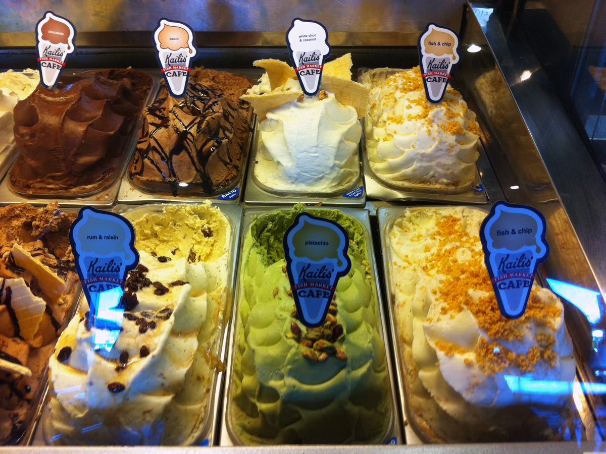 Fish and chip gelato next to less unusual flavours - pistachio, rum & raisin, white choc & coconut, baci, chocolate