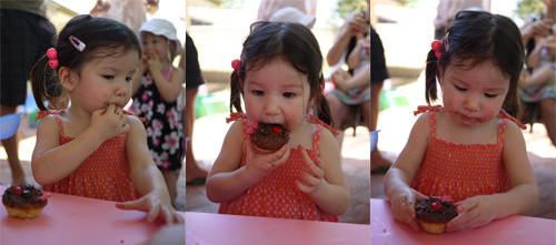 Zoe eats a birthday cupcake