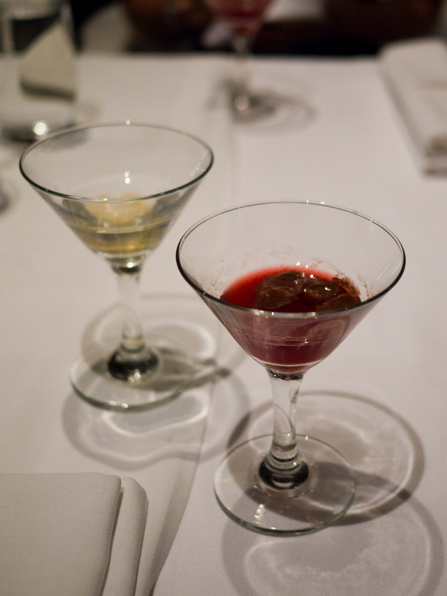 Dirty jelly and cherry ripe martinis