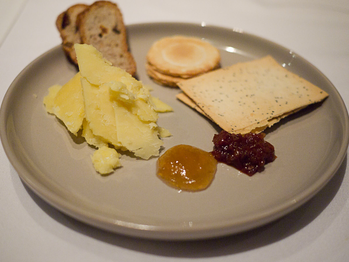 Sixth course: Pyengana cheddar served with crackers and homemade preserves