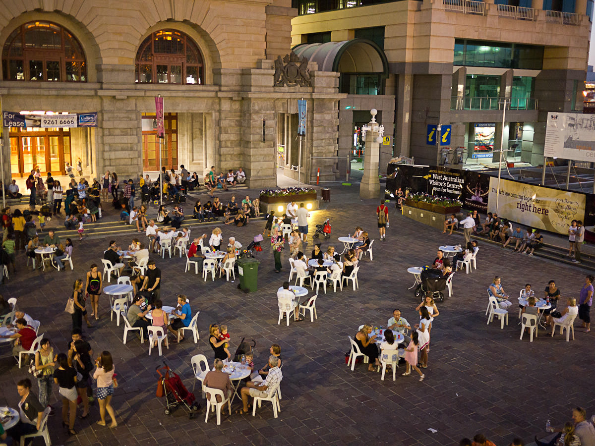 Twilight Hawker Market - seating in Forrest Place