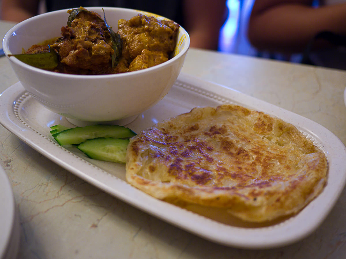Chicken curry with roti canai (AU$9.50)