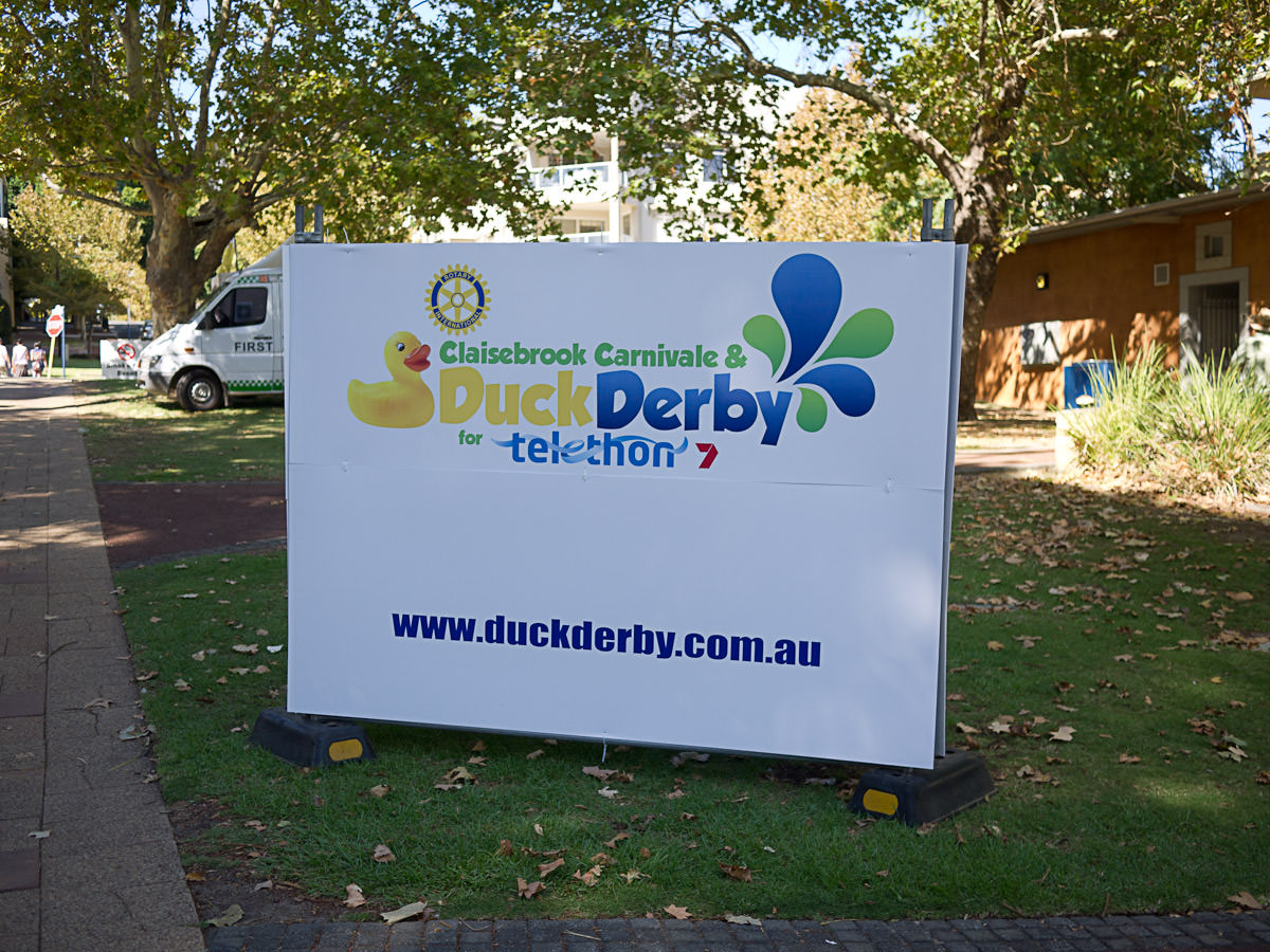 Telethon Duck Derby sign