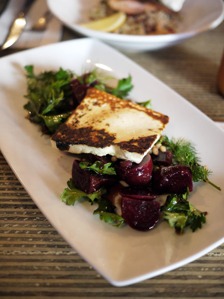 Grilled haloumi, beetroot, poached wheat salad (AU$18)