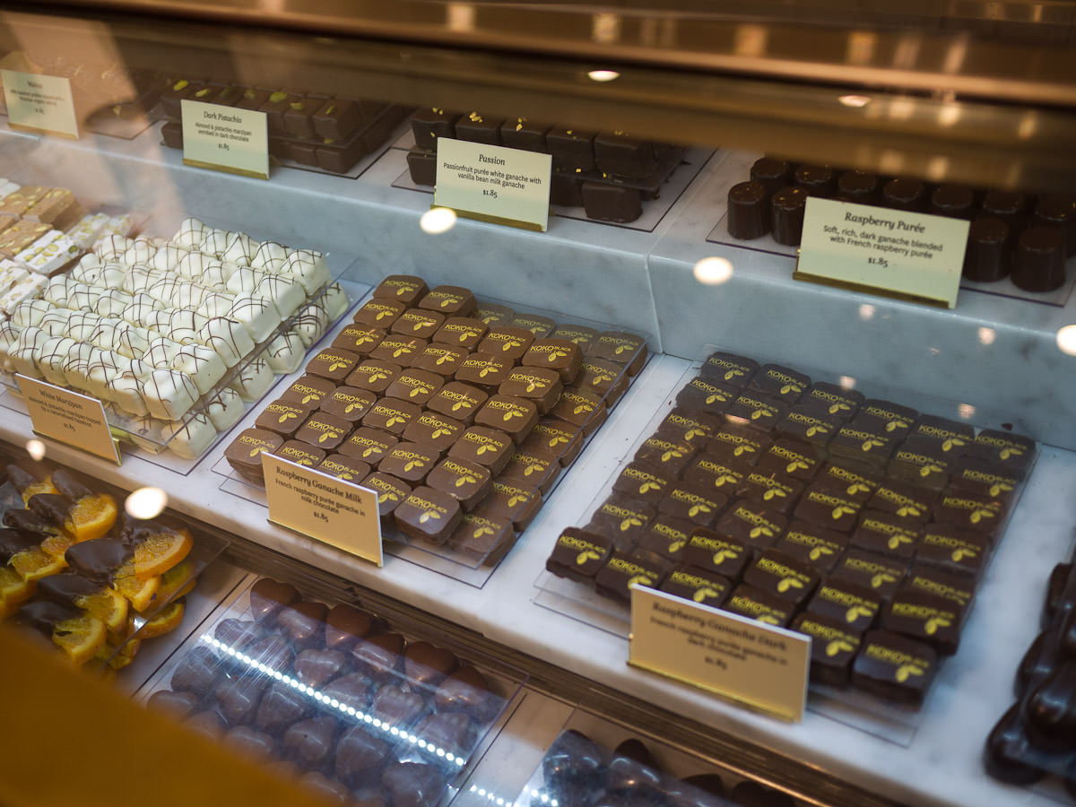 Chocolates in display case