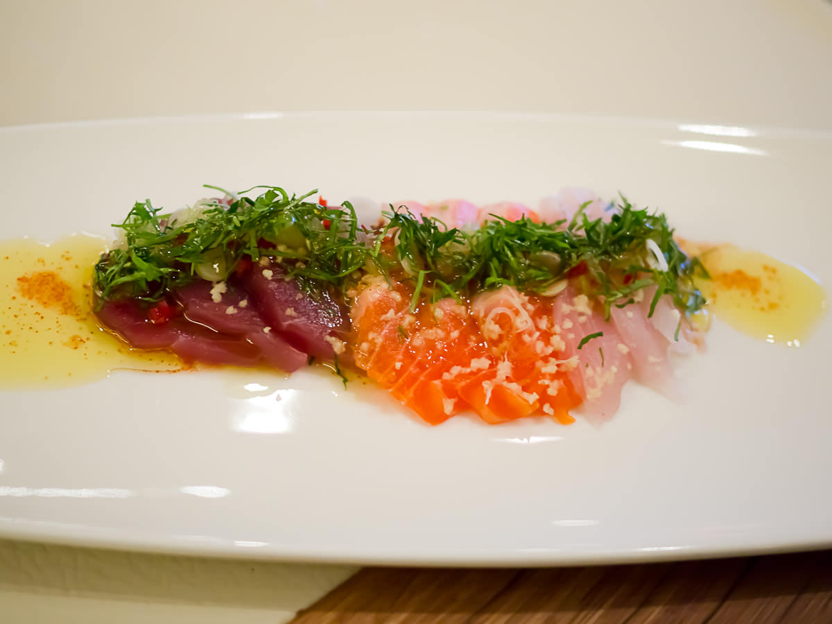Crudo of ocean trout, yellow fin tuna and pink snapper with coriander and lime flavoured extra virgin olive oil (AU$29)